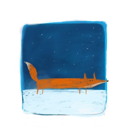 Fox in the Snow print by Tom McLaughlin.